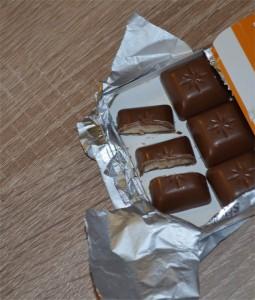 Ein Stück Schokolade zu Weihnachten